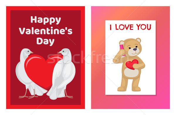 Cute miękkie zabawki niedźwiedzie biały Zdjęcia stock © robuart