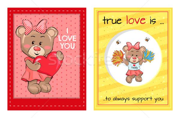 Amour toujours soutien Teddy filles uniforme Photo stock © robuart