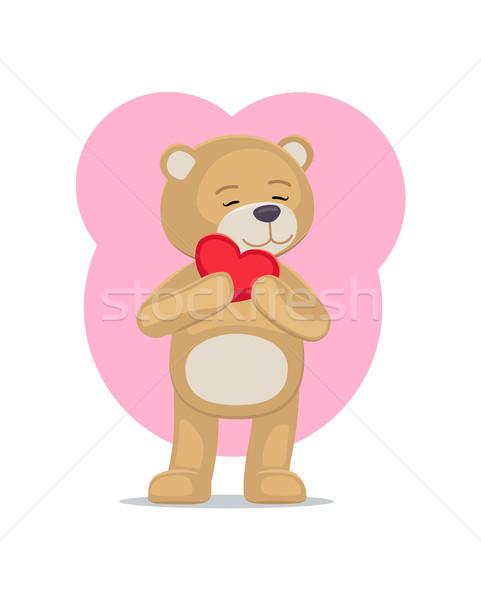 Adorable Teddy Gently Holds Heart Head Lovely Bear Stock photo © robuart