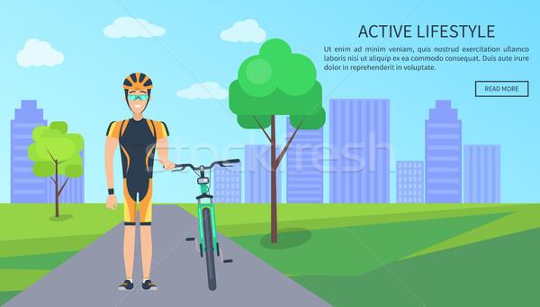 Active Lifestyle Bicyclist Web Vector Illustration Stock photo © robuart