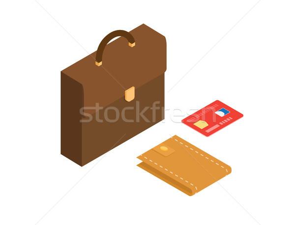 Hitelkártya pénztárca aktatáska izometrikus vektor piros Stock fotó © robuart