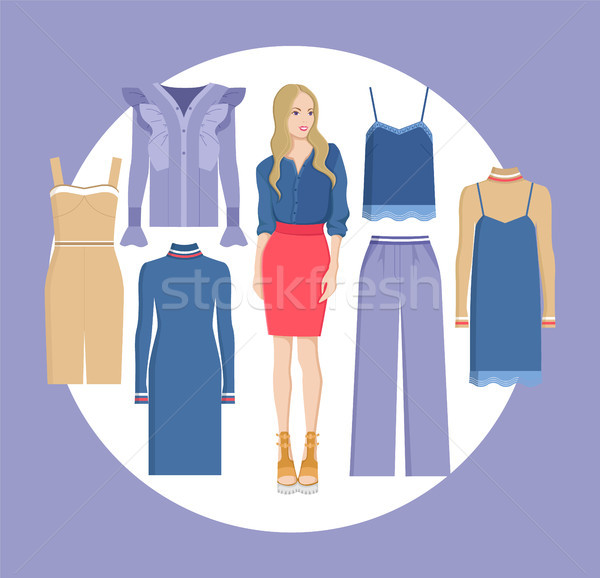 Woman and Choice of Clothes Vector Illustration Stock photo © robuart