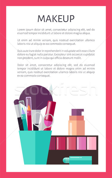 Makeup Tools and Decorative Cosmetics Promo Poster Stock photo © robuart