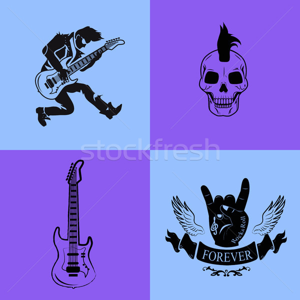 Forever Rock Music Icons on Vector Illustration Stock photo © robuart