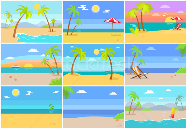 Nature Sea Beaches Collection Vector Illustration Stock photo © robuart