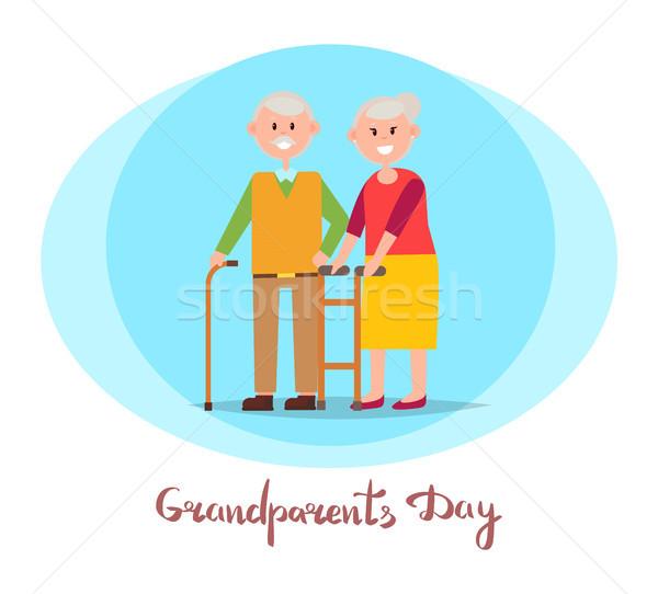 дедушка и бабушка день плакат заголовок круга изображение Сток-фото © robuart
