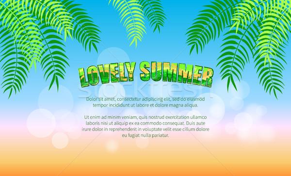 Nyár promóciós poszter zöld pálmafák pálmalevelek Stock fotó © robuart