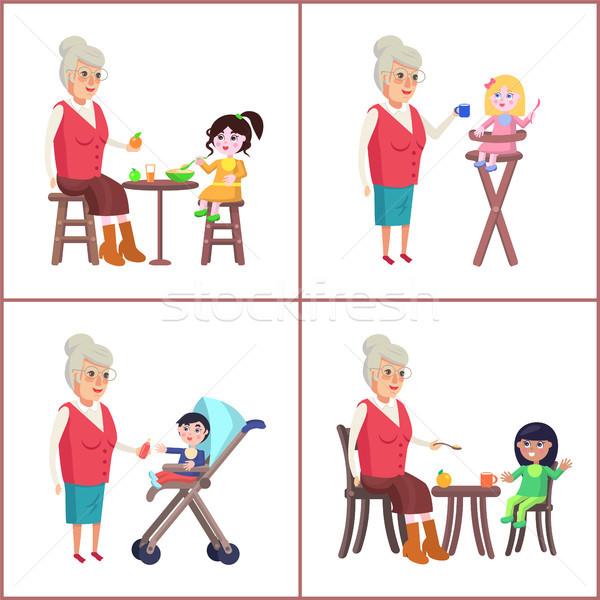 Büyükanne torunlar bakım çocuklar yaşlı kadın Stok fotoğraf © robuart