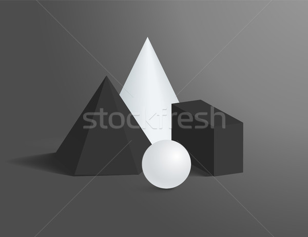3D Geometrical Shapes of Black and White Colors Stock photo © robuart