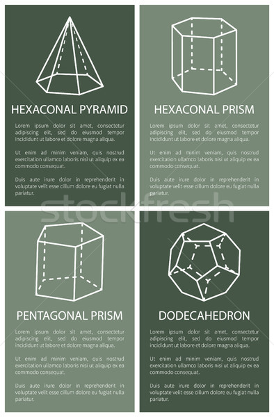 Hexagonal Pyramid and Prism, Dodecahedron Drawings Stock photo © robuart