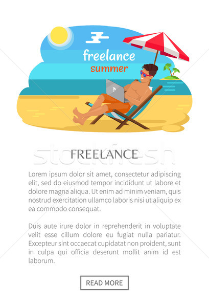 Freelance Summer Poster with Push Button Read More Stock photo © robuart