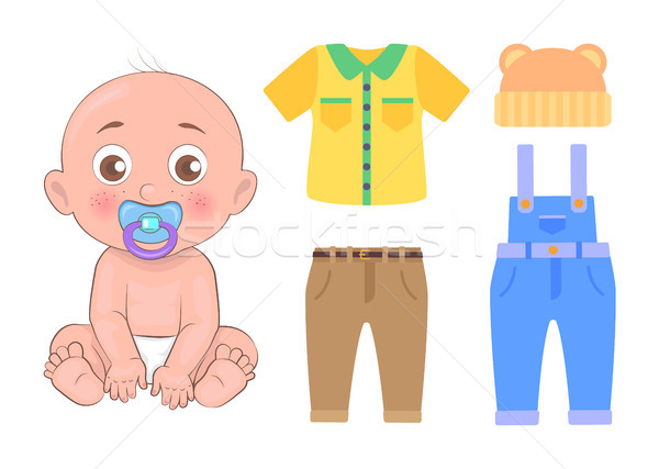 Cute Baby and Clothing Set Isolated on White Card Stock photo © robuart