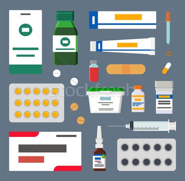 Medicines Set, Sharp Syringes and Sterile Plasters Stock photo © robuart