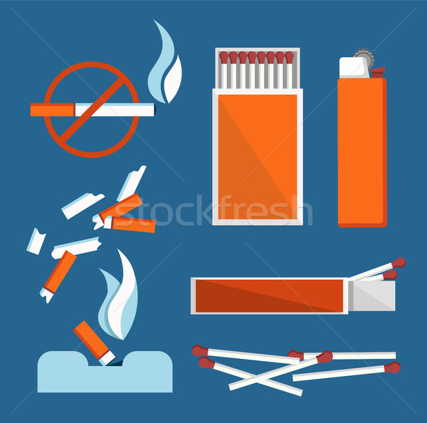 Stop Smoking Banner Isolated on Blue Background Stock photo © robuart