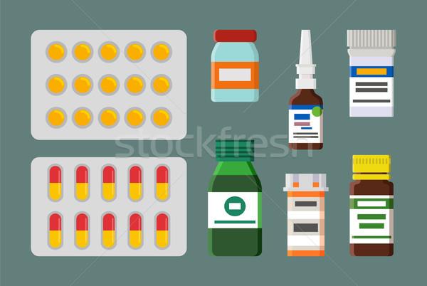 Médication produits ensemble pilules gouttes Photo stock © robuart