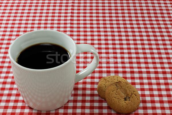 コーヒー ビスケット テーブルクロス コーヒーマグ ドリンク リラックス ストックフォト © rogerashford