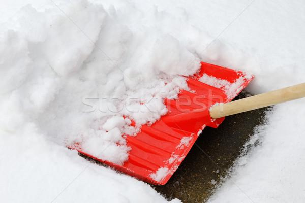 Kar kürek kullanılmış kaldırım doku Stok fotoğraf © rogerashford