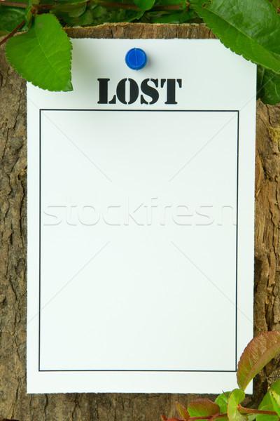 Perdu affiche espace de copie feuille Photo stock © rogerashford