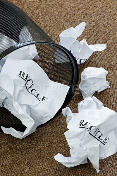 Atık kâğıt sepet kelime geri dönüşüm Stok fotoğraf © rogerashford