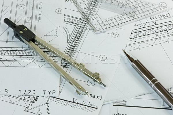 計画 図面 ペン セット ストックフォト © rogerashford