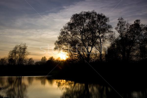 Nehir gün batımı kırsal erken bahar su Stok fotoğraf © rogerashford