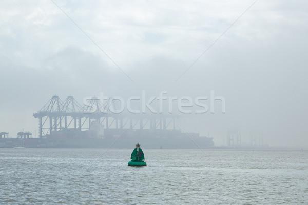 Deniz sis konteyner liman logolar su Stok fotoğraf © rogerashford