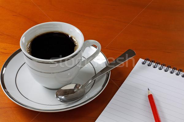 Kahve büro fincan notepad kalem dinlenmek Stok fotoğraf © rogerashford