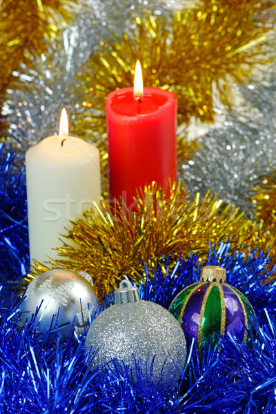 Noël bougies résumé fond hiver balle Photo stock © rogerashford
