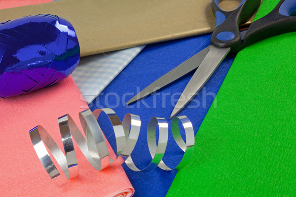 Kâğıt şerit tablo doğum günü arka plan Stok fotoğraf © rogerashford