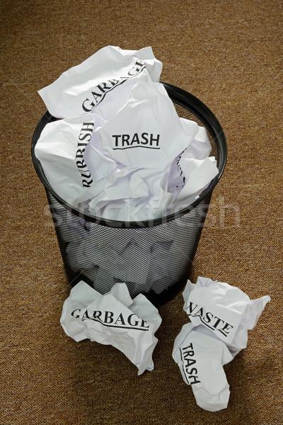 Atık kâğıt çöp iş çalışmak Stok fotoğraf © rogerashford