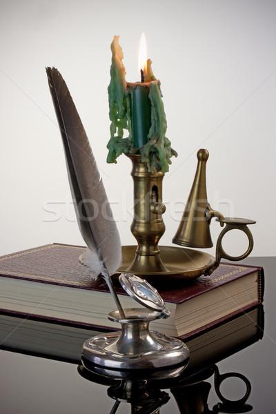 ペン 燭台 アンティーク 真鍮 赤 図書 ストックフォト © rogerashford