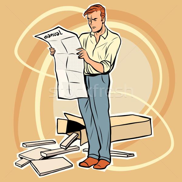 man manual assembling furniture Stock photo © rogistok