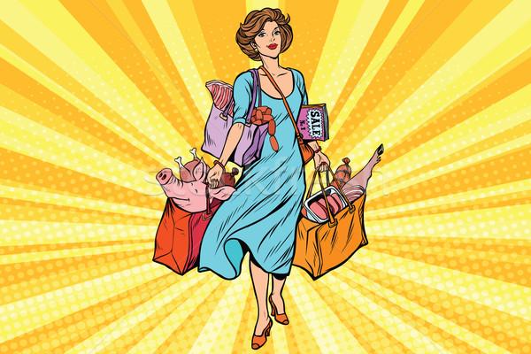 Weiblichen Käufer Fleisch Markt Comic Stock foto © rogistok