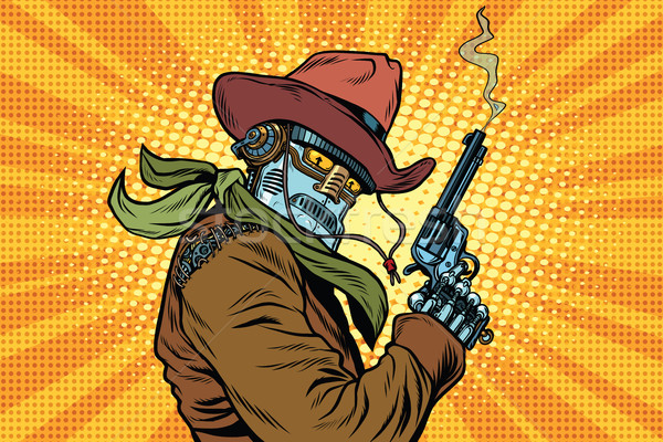 Steampunk robot Cowboy fumer revolver pop art Photo stock © rogistok