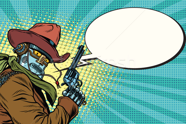 Zdjęcia stock: Robot · cowboy · zachód · komiks · Bańka