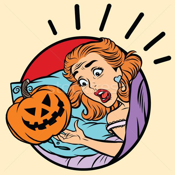 Lány ijedt halloween gonosz sütőtök pop art Stock fotó © rogistok