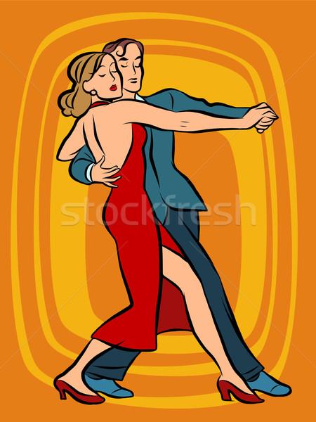 Casal dança tango retro vetor Foto stock © rogistok