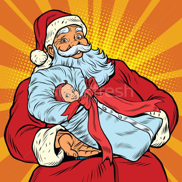 Santa Claus with gift - newborn girl Stock photo © rogistok