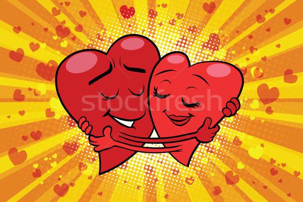 Sarılmak çift sevmek valentine pop art Retro Stok fotoğraf © rogistok