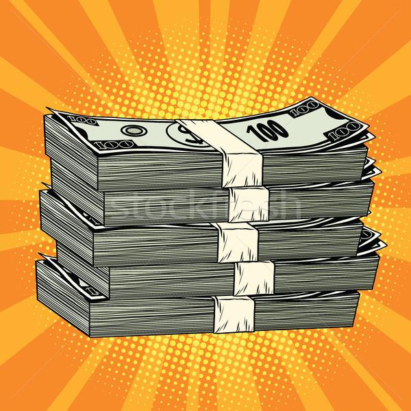 Boglya pénz dollár pop art retro képregény Stock fotó © rogistok