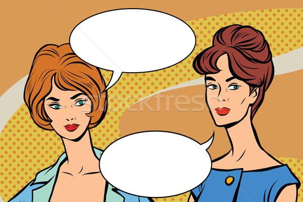 Dois retro mulheres vetor Foto stock © rogistok