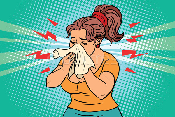 The woman is sick, runny nose and handkerchief Stock photo © rogistok