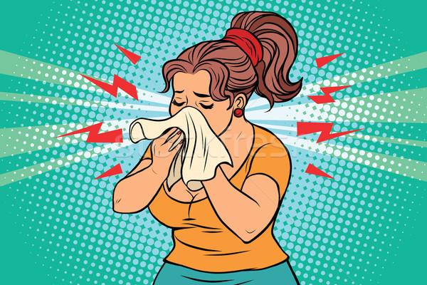 Nő beteg orr zsebkendő képregény illusztráció Stock fotó © rogistok
