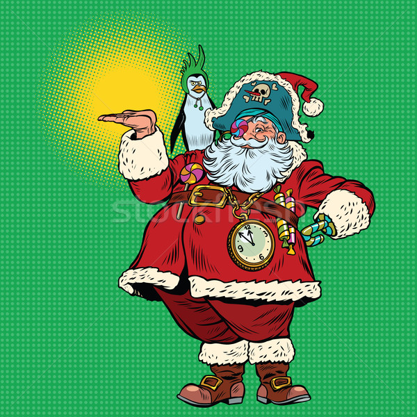 Santa Claus pirate and penguin presentation gesture Stock photo © rogistok