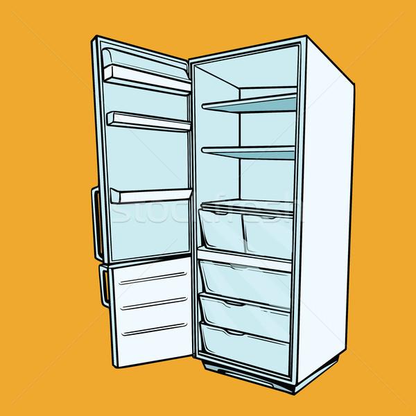 Nyitva üres hűtőszekrény képregény rajz stílus Stock fotó © rogistok