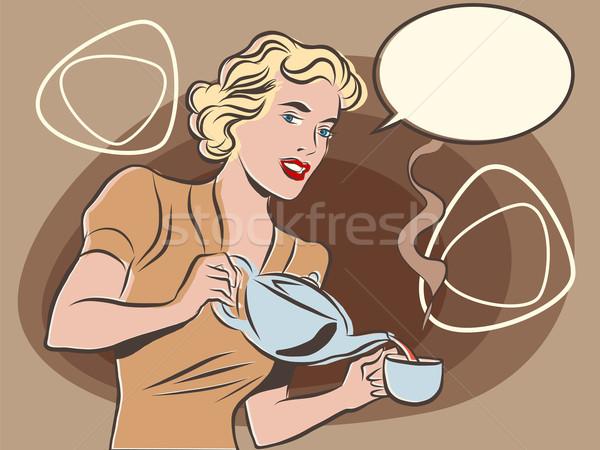 Serveerster thee pastel retro kleuren pop art Stockfoto © rogistok