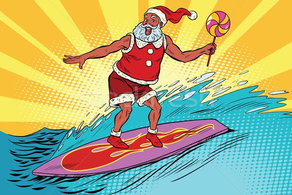 Foto stock: Esportes · papai · noel · prancha · de · surfe · retro