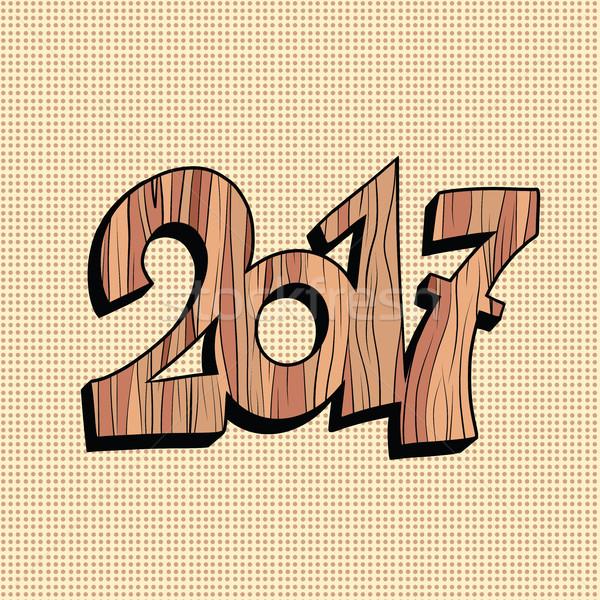 Wooden figure 2017 new year Stock photo © rogistok