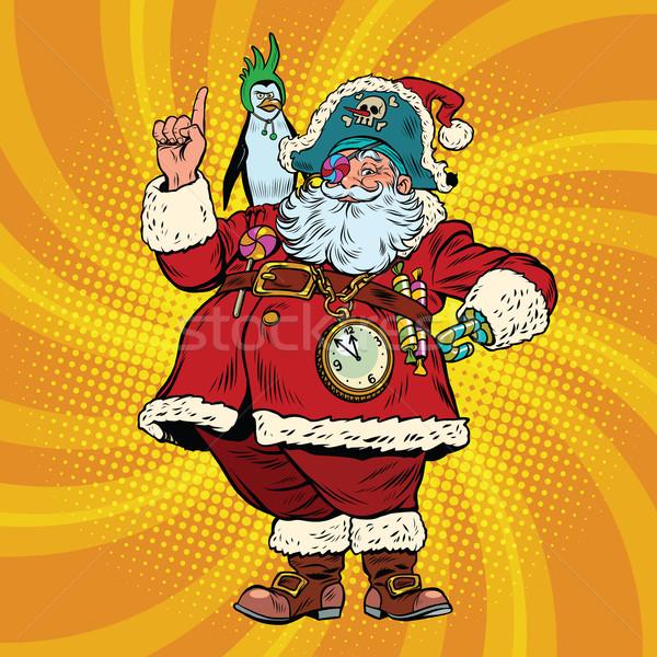 Santa Claus pirate penguin pointing gesture Stock photo © rogistok