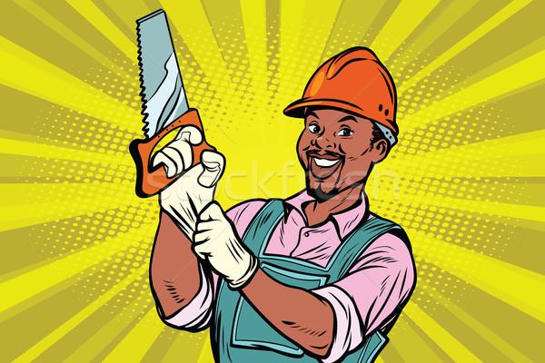 Bouwvakker zag reparatie tool afro-amerikaanse mensen Stockfoto © rogistok